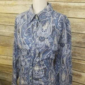 Tommy Hilfiger Blue White Paisley Button Shirt XL